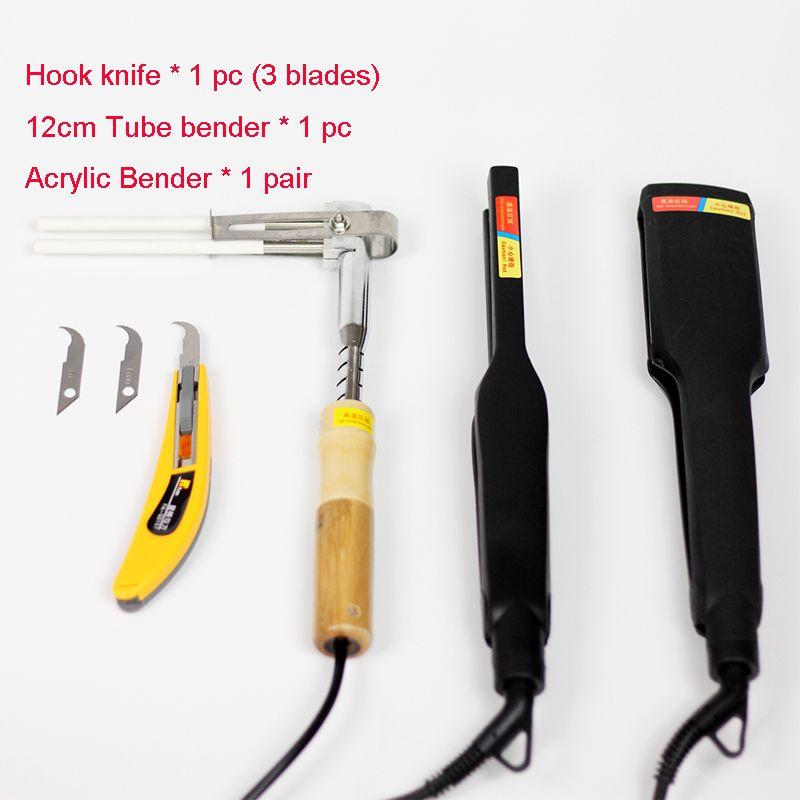Dispositif de cintreuse acrylique lettre de canal machine à cintrer à chaud outil de cintreuse de forme d'arc/Angle 1 paire + couteau à crochet + cintreuse à tube 12 cm (220 V)