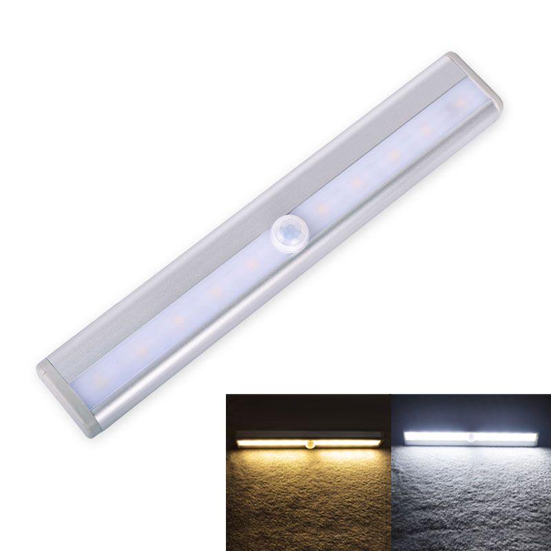 Luz Del Gabinete Del LED Barra de Luz Del Sensor de Movimiento Noche de Luz LED 10 led Portátil Lámpara de Inducción de Infrarrojos Para Armario Dormitorio Escaleras