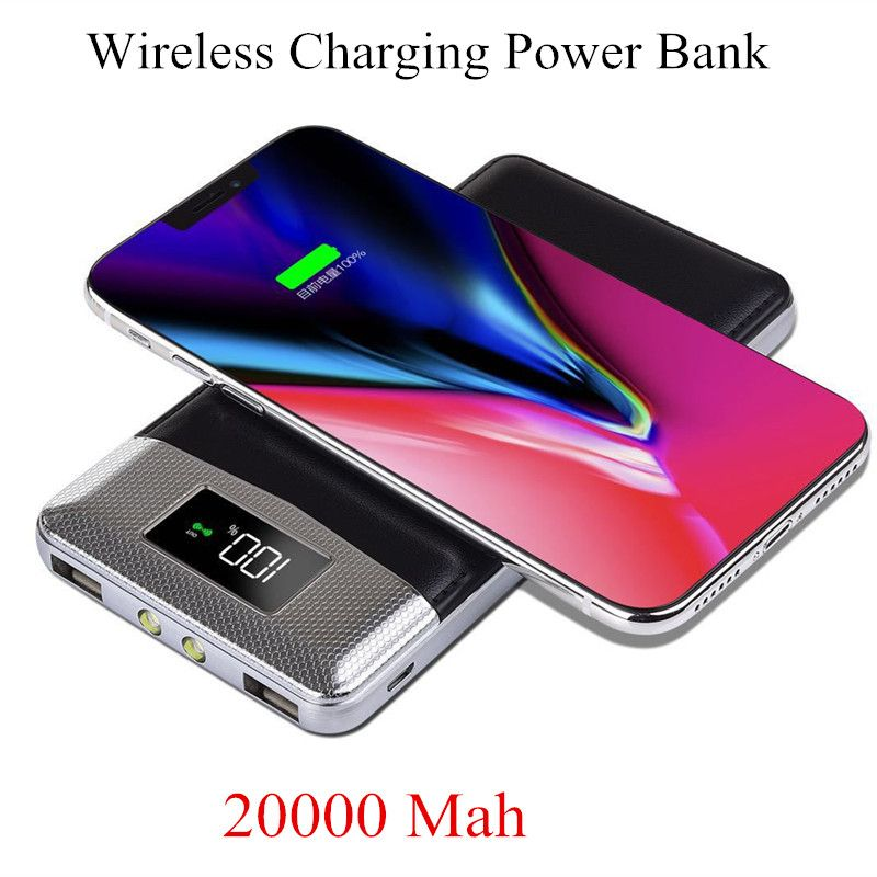 2018 Qi Wireless Charger 20000Amh Portable USB Power Bank Wireless Charging Pad for iPhone X 8 Plus Samsung Note 8 S8 PowerBank