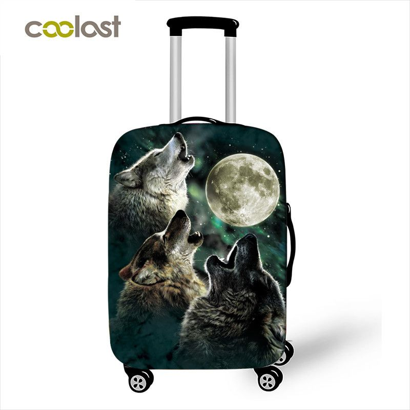 Wolf Pattern Luggage Cover for Girls 18-28 Inch Pink Suitcase Protective Covers Elastic Valise Trip Case Bag Travel Accessories