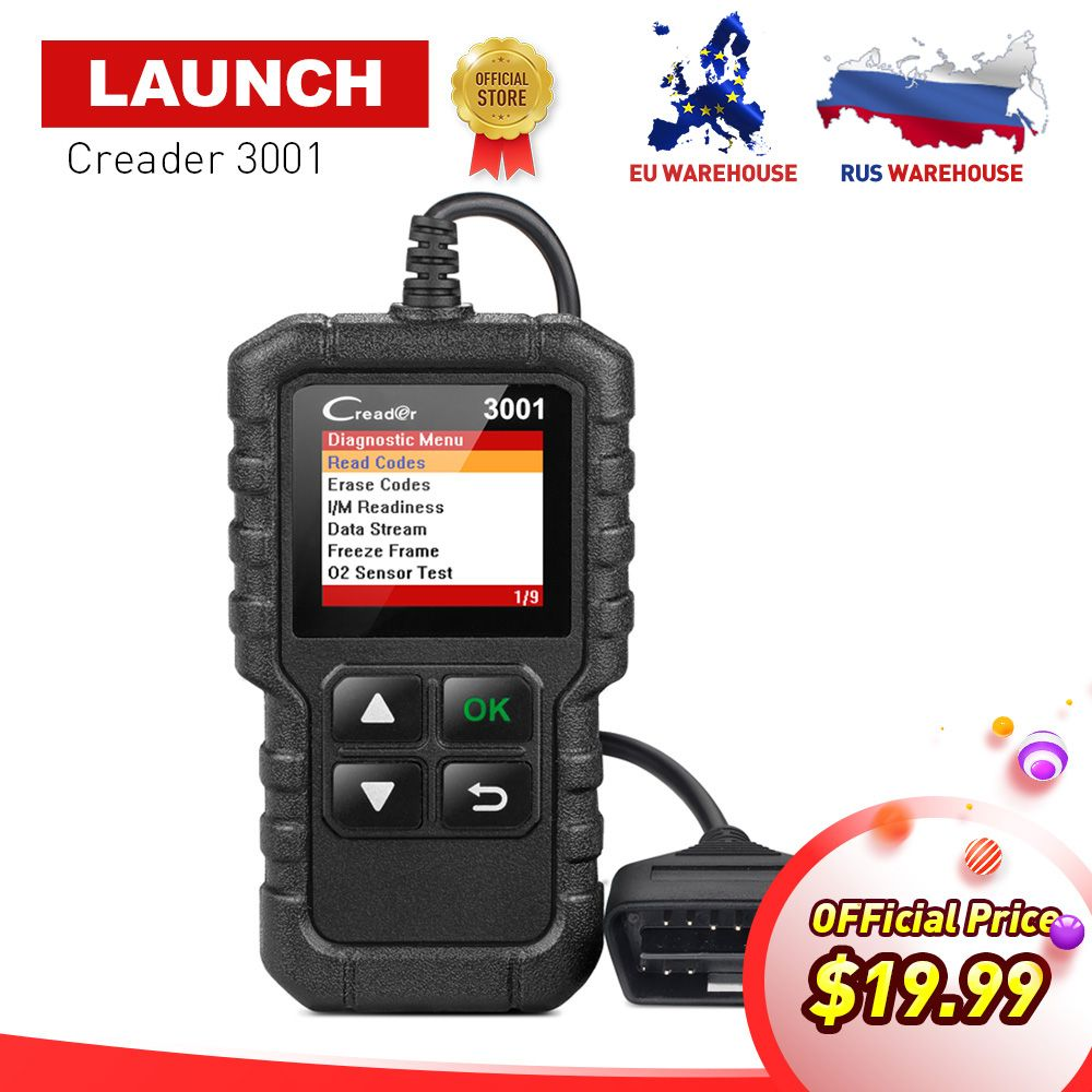 LAUNCH X431 Creader 3001 Full OBD2 EOBD Code Reader Auto Scan tools CR3001 OBD 2 Diagnostic Tool PK NL100 OM123 AD310 In Russia
