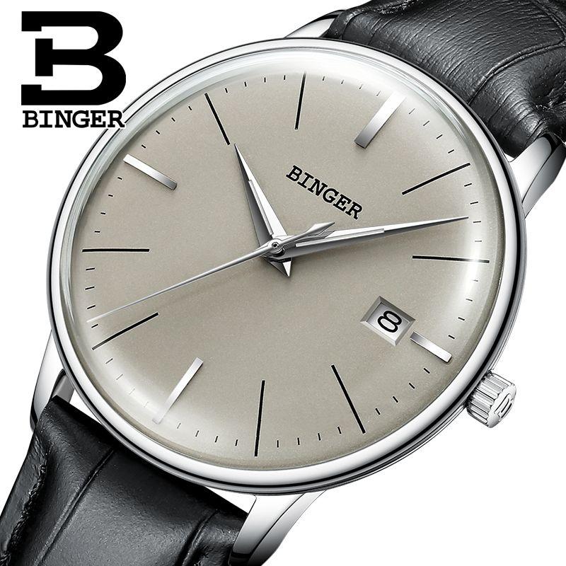 Schweiz BINGER Marke Männer Lederband Automatische Mechanische Männliche selbst-wind Sapphire Einfache Cruve Oberfläche Ultradünne Uhr