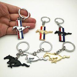Trois styles De Voiture Styling Métal Nouvelle 3D Cheval Emblème Badge Porte-clés porte-clés Porte-clés Anneau Fit pour Ford Ford Mustang GT 500 Cobra