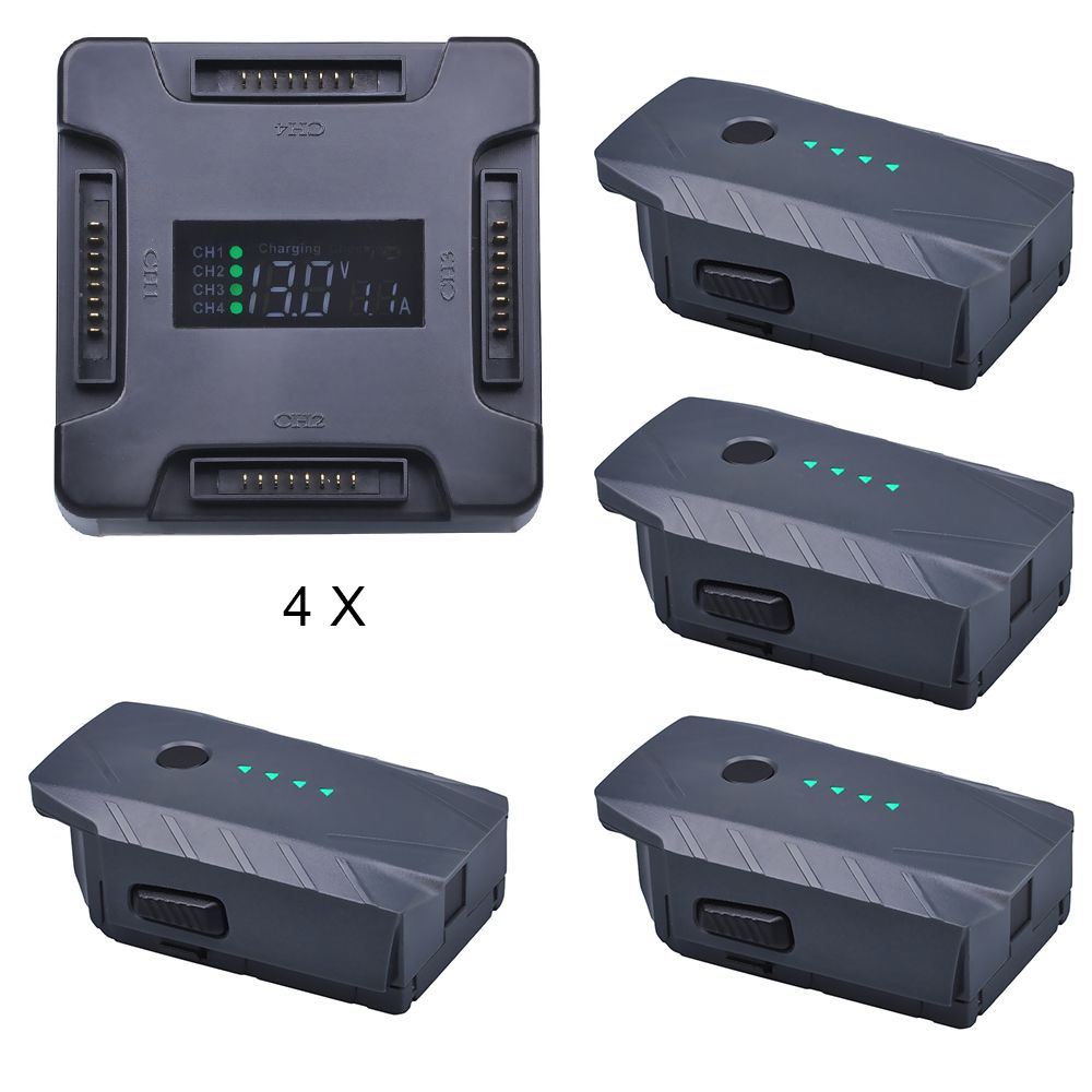 4X For DJI Mavic Pro Battery Intelligent Flight +LCD 4 in1 Battery Charging Hub for DJI Mavic Pro Quadcopter 4K HD Camera Drones