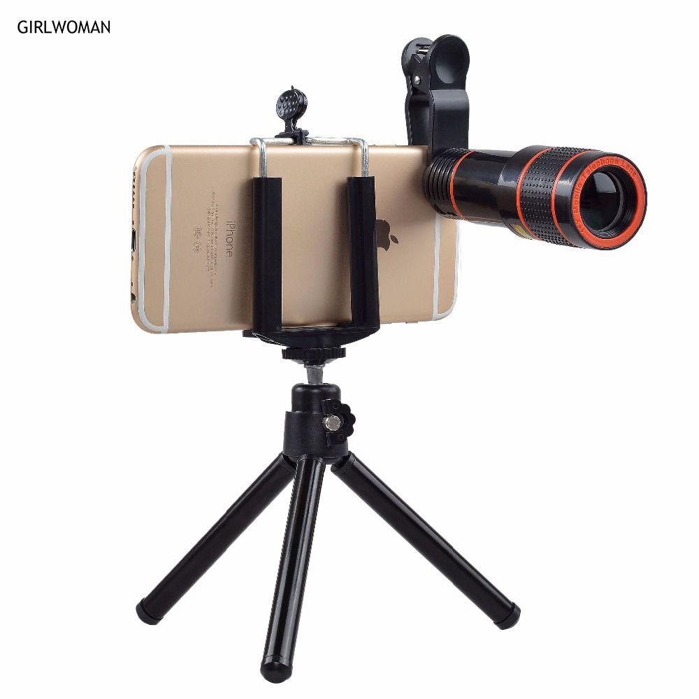 Girlwoman With Tripod for Phone Camera 12X Zoom Phone lens lentes telescopio Para Celular Telescope Movil Android Smartphone