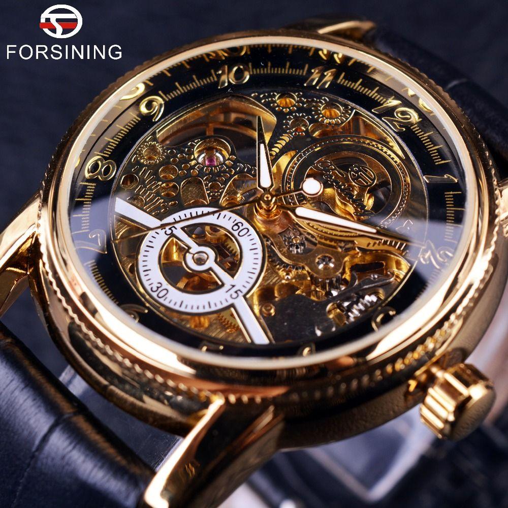 2016 Forsining <font><b>Hollow</b></font> Engraving Skeleton Casual Designer Black Golden Case Gear Bezel Watches Men Luxury Brand Automatic Watches