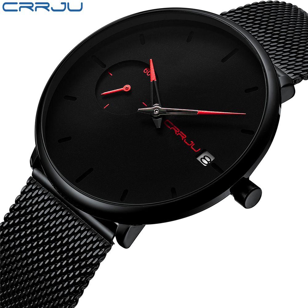 Crrju Sports Date hommes montres Top marque de luxe étanche Sport montre hommes Ultra mince cadran montre à Quartz décontracté Relogio Masculino