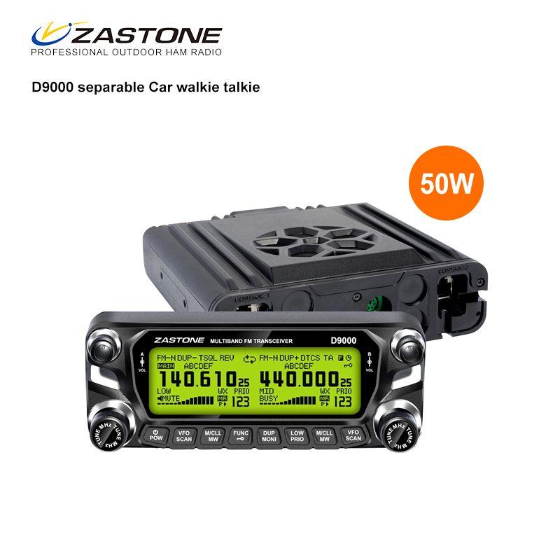 Zastone D9000 50W Car Walkie Talkie 50km Car Radio Transmitter VHF UHF 136-174&400-520MHz HF Transceiver 50 km Communicator