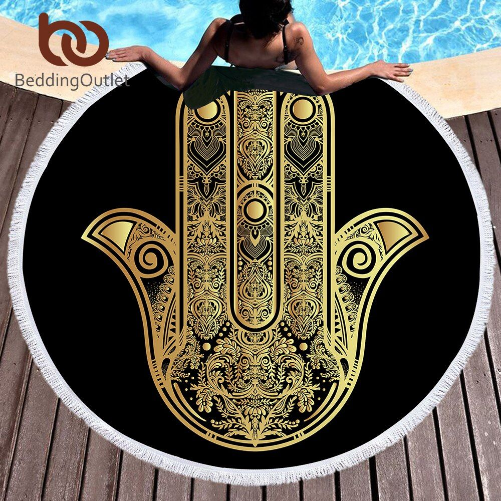 BeddingOutlet Microfiber Round Beach Towel for Adults Summer Toalla Tassel Yoga Mat Hamsa Hand Printed Serviette De Plage 150cm