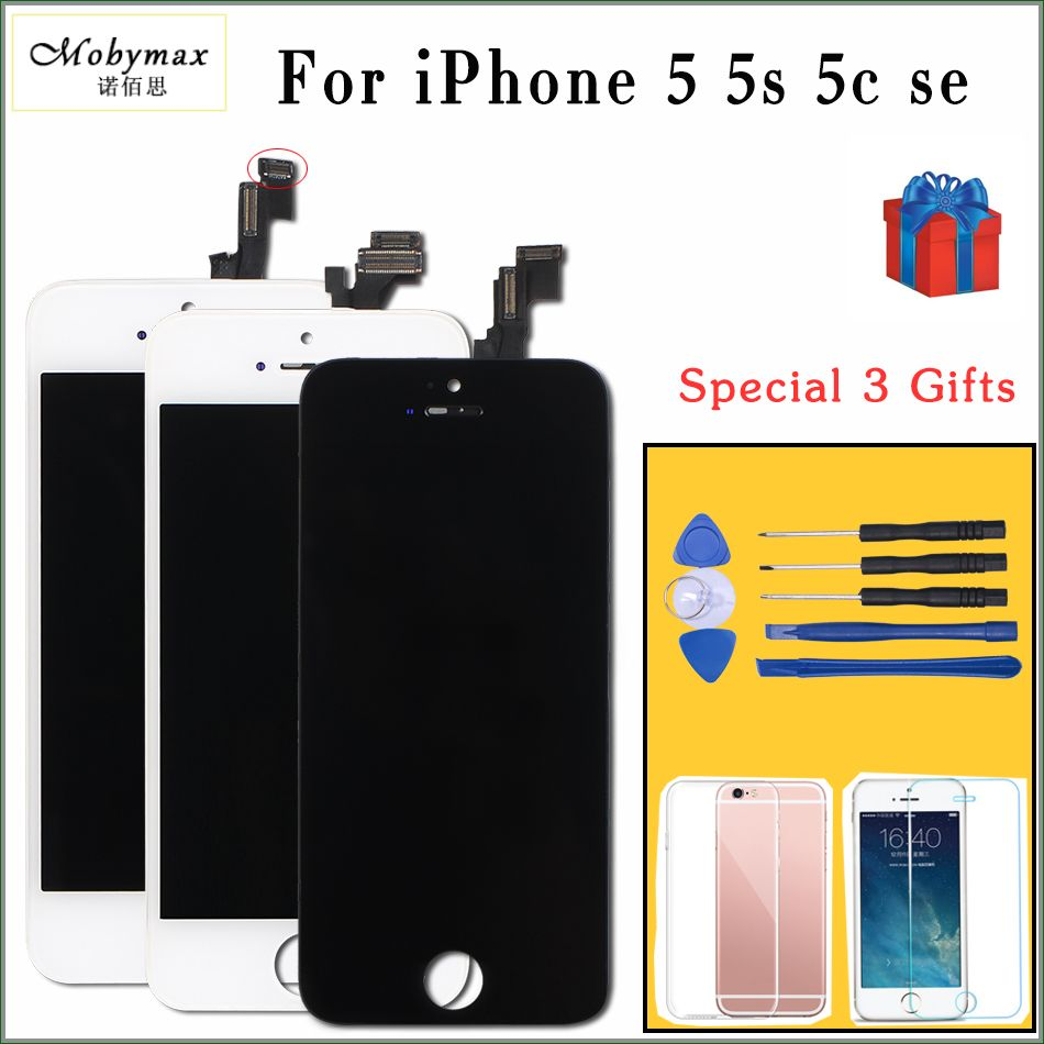 Mobymax  All Test Work LCD For iPhone 5S LCD Display Touch Screen Digitizer Assembly Replacement for iphone 5 display with gifts