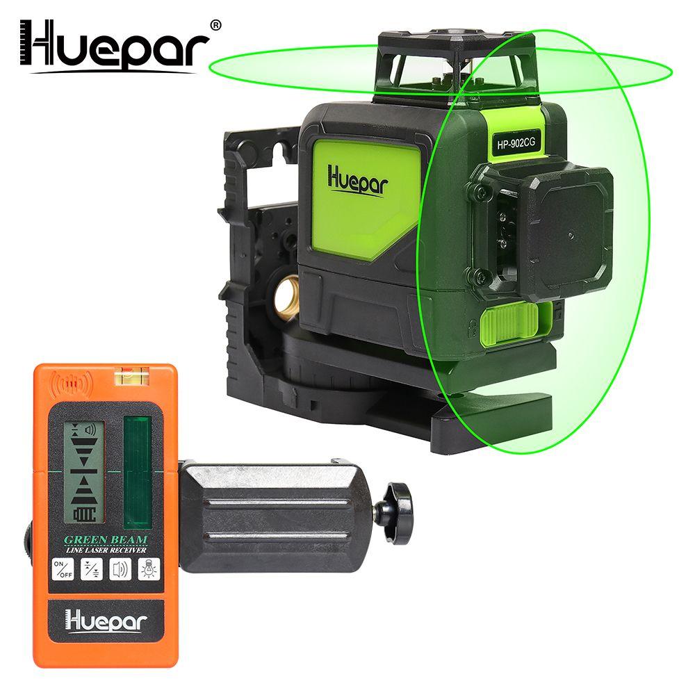 Huepar Self-leveling Professional Green Beam Cross Line Laser 360-Degree Line with Pulse Modes+Huepar Digital LCD Laser Receiver