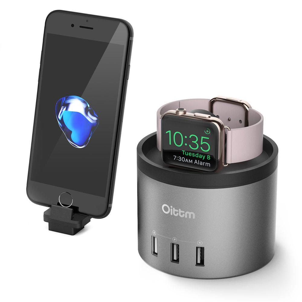 Oittm Pour Apple Montre Chargeur Série 3/2 De Bureau Table de Chevet 4-Ports USB chargeur Dock W Téléphone Titulaire Pour iPhone X/8/8 Plus/7