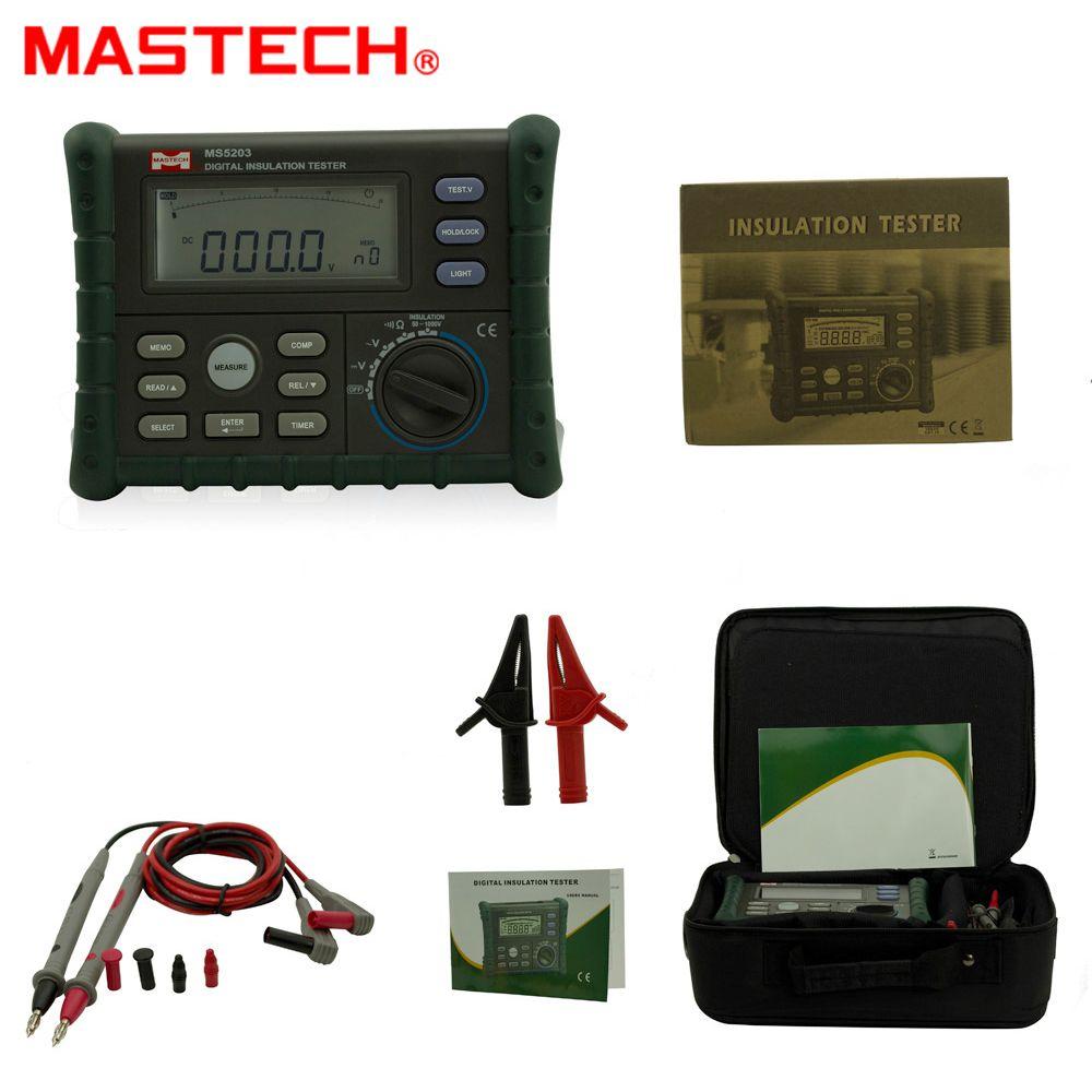 MASTECH MS5203 Digital Insulation Resistance Tester Multimeter Megger 0.01-10G Ohm meter 50V-1000V output