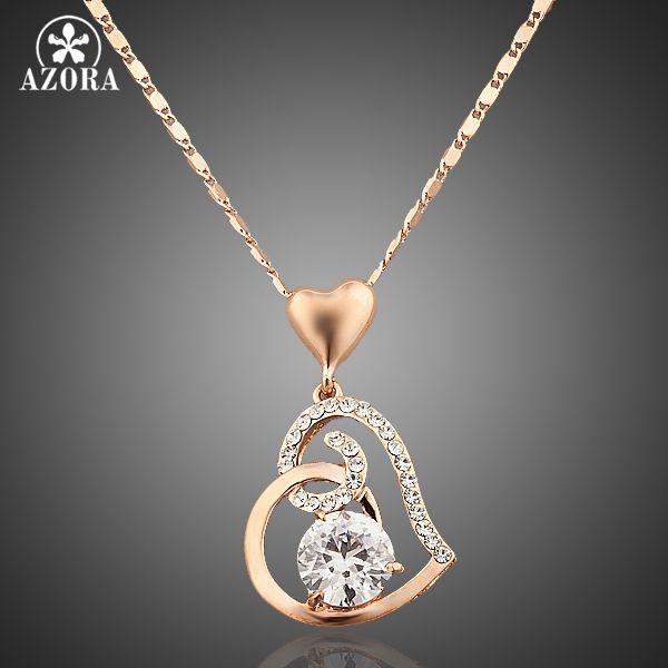 AZORA Rose Gold Farbe Stellux Kristalle Herz Anhänger Halskette für Valentinstag Geschenk der Liebe TN0009
