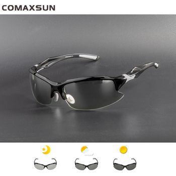 COMAXSUN Professional Photochromic Polarized Cycling Glasses Bike Goggles MTB Sports Bicycle Sunglasses Myopia Frame UV 400