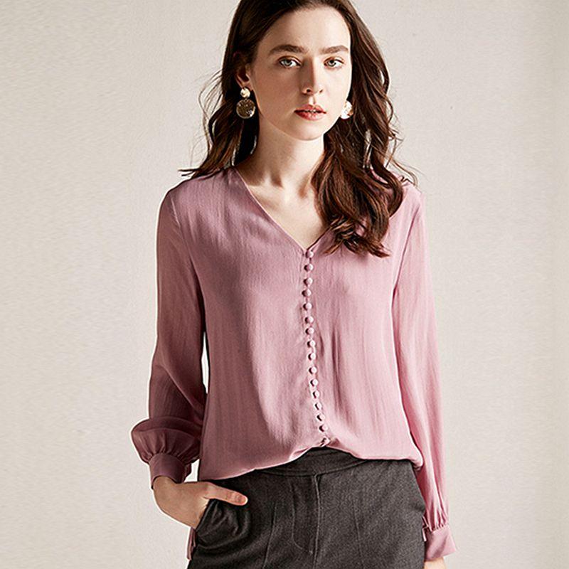 Bluse Frauen Hemd Doppel schicht 100% Seide Einfache Design V Neck Langarm Solide 2 Farben Büro Top Neue Mode frühling 2019