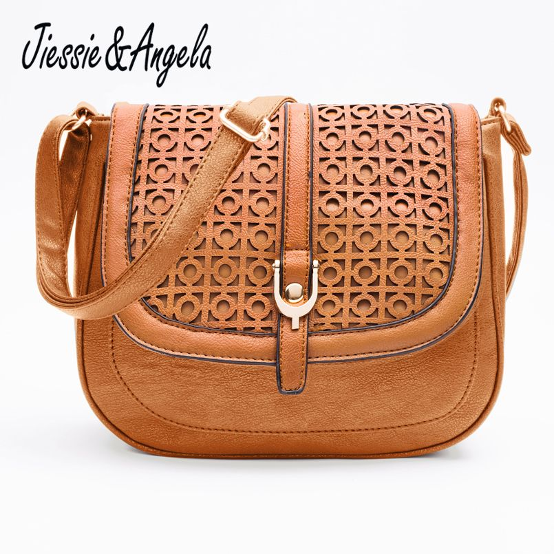 Jiessie & <font><b>Angela</b></font> Hot Sale Women Messenger Bag Leather Handbag bolsas femininas Vintages Hollow Out Cross Body Shoulder Bag