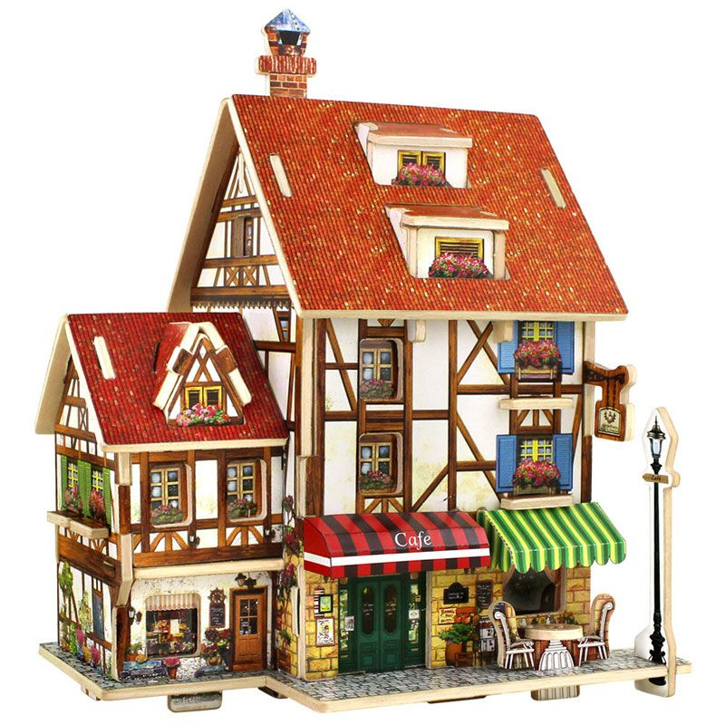 3D Puzzle Wooden Toys Coffee Lodge House Home Puzzles Composite Model DIY Wood Toys for Children Kids Boys House Modeling