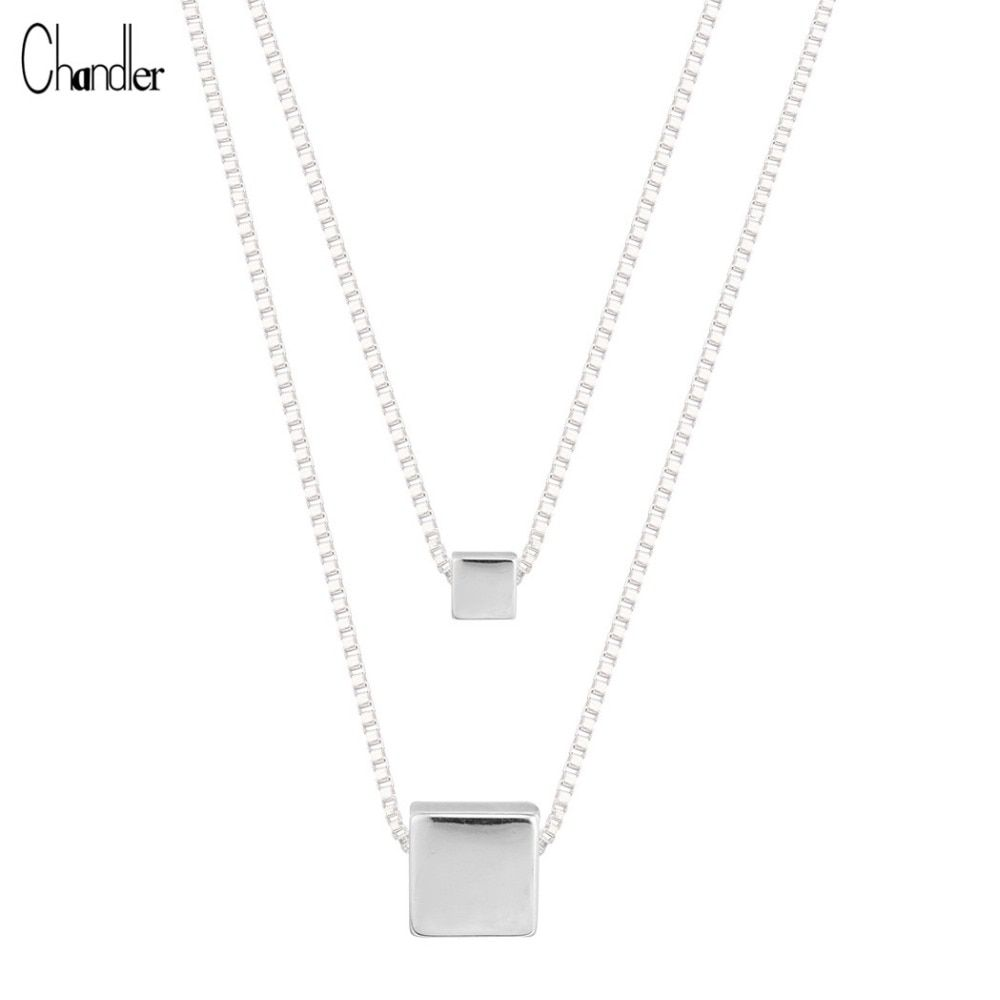 925 Sterling Silver Double layers Necklaces & Pendants For Women Geometric Polished Square Cube Charm Long Chain Chokers Torque