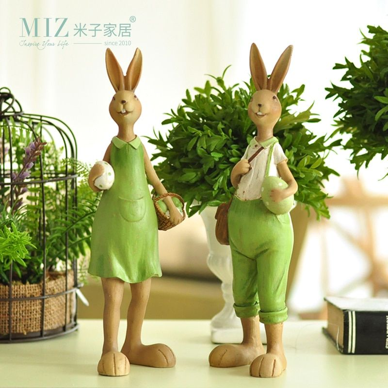 Miz Home Pantanal Family Set Creative Rabbit Resin Home Decor Gift for Friend Garden Home Decoration Resin Crafts