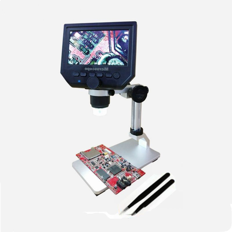 1-600X 3.6MP Portable USB LCD Digital Microscope With Aluminum Alloy Stent 4.3 Inches HD OLED Display for BGA Reballing Phone