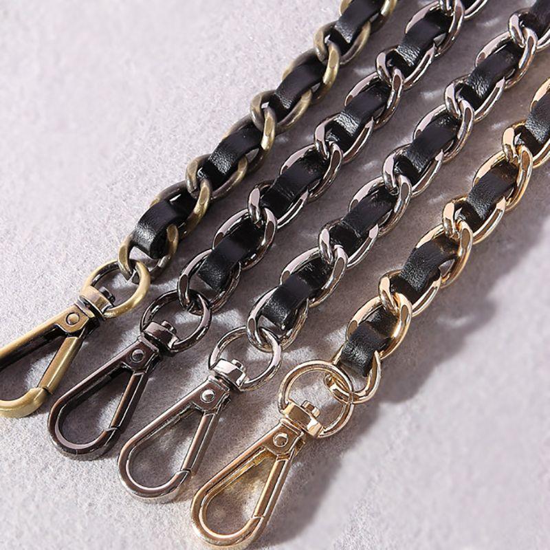 DIY 40cm-140cm Black PU Leather Purse Handles 11mm Replacement Metal Gold, Silver, Bronze, Gun Black Chains Shoulder Bag Straps