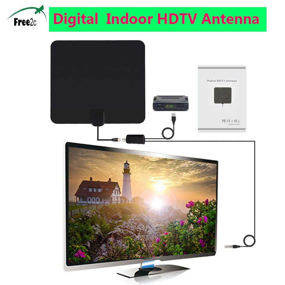HD ТВ 1080 P цифровой Телевизионные антенны 50 км Диапазон indoor Телевизионные антенны с Усилители домашние усилитель сигнала с высоким коэффицие...