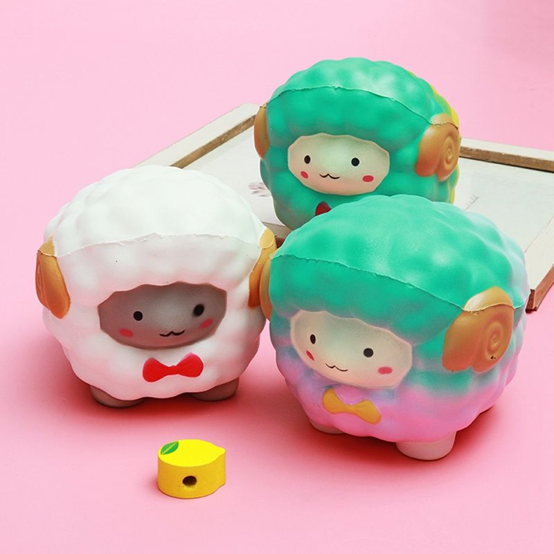 Jumbo Squishyed Kawaii Bow Big Sheep Alpaca Soft Slow Rising Stretchy Squeeze Kid Toys Relieve Stress Gift Decor Toy Phone Strap