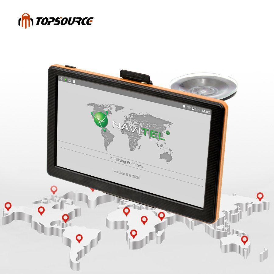 TOPSOURCE Car GPS Navigation 7 Inch HD Capacitive Screen FM Transmitter Map For Europe/USA+Canada Truck Vehicle GPS Navigator