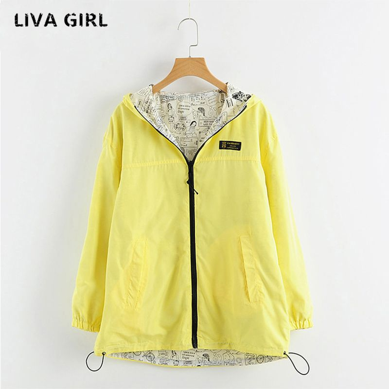 Liva Girl Women Jackets Reversible Fashion Coat Cartoon Hand-painted Pattern Zipper Hooded Pockets Candy Color Autumn YP707420