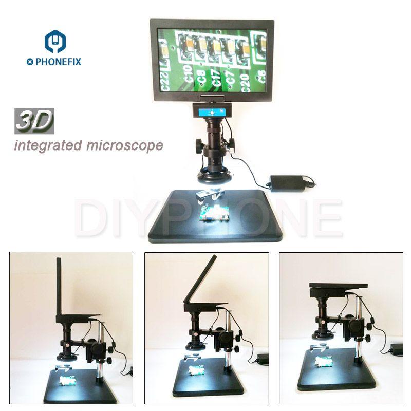 PHONEFIX 0,7-4.5X 3D Optische Vergrößerung Integrierte Design Mikroskop Mit 10,6 zoll Display Für Telefon Motherboard Reparatur