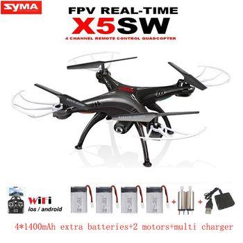 SYMA X5SW RC Drone avec Caméra WIFI FPV Télécommande En Temps Réel RC Hélicoptère Quadcopter (X5C Mise À Niveau) dron avec 5 Batteries