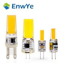 EnwYe светодио дный G4 G9 лампа AC/DC затемнения 12 В 220 В 3 Вт 6 Вт COB SMD светодиодные осветительные приборы заменить галогенные фары люстры