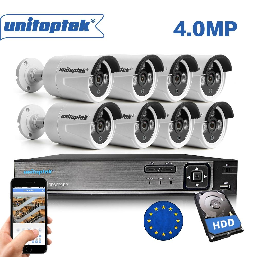 H.265 8CH 4MP CCTV Surveillance Kit 8CH POE NVR HDMI Video Output 8Pcs 4MP IP Camera Outdoor Motion Detect Security System Set