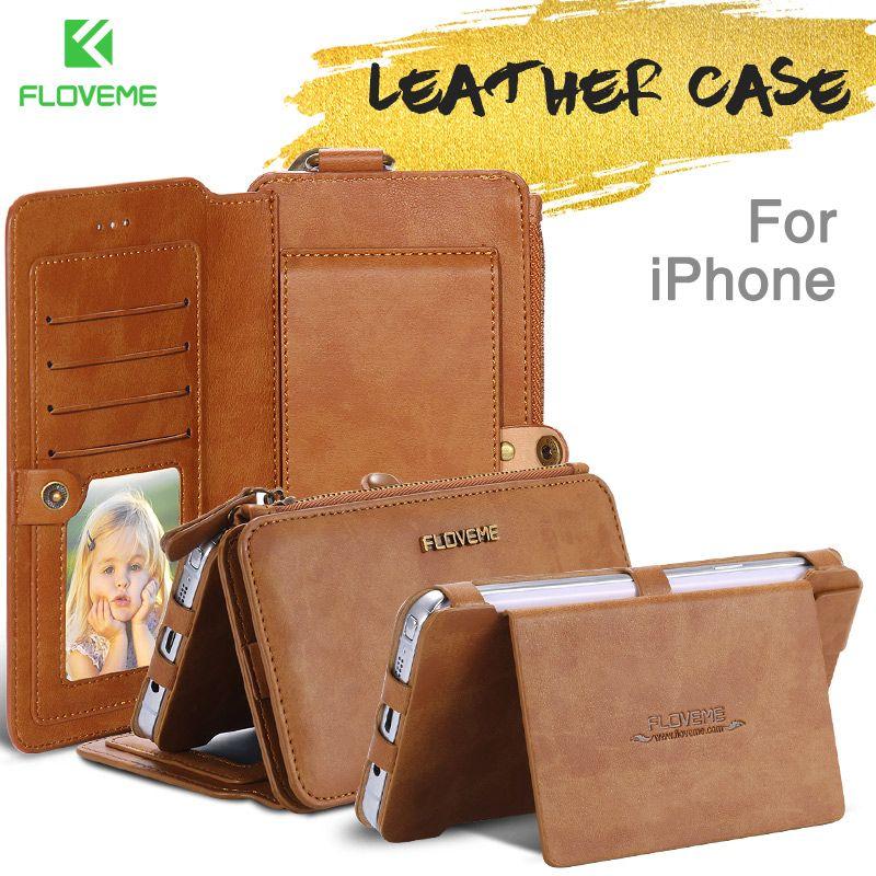 FLOVEME D'origine En Cuir étui pour iPhone 6 6s 7 8 Plus Cas Carte Fente pour Téléphone Portable Pour iPhone X XS Max XR Portefeuille Flip Funda Capa