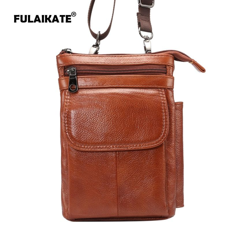 FULAIKATE 7 Genuine Leather Universal Shoulder Strap Bag for Samsung MEGA 6.3 S8 Plus Note4 Case Waist Pouch Multifunction Bag