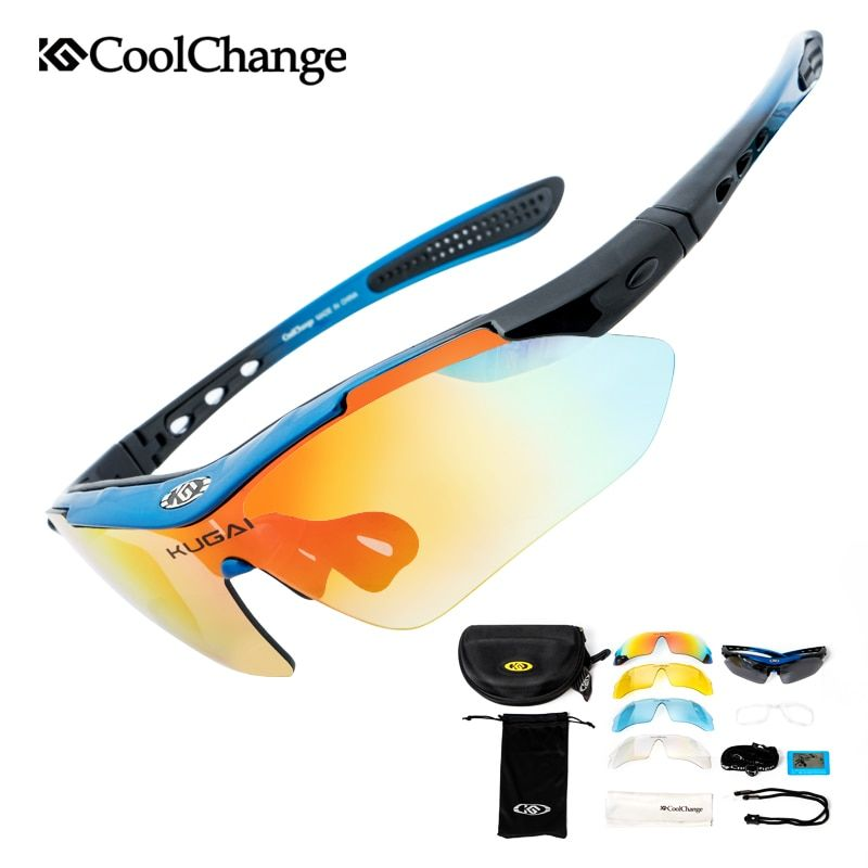 CoolChange Professional Polarized <font><b>Cycling</b></font> Glasses Bike Goggles Outdoor Sports Bicycle Sunglasses With 5 Lens Myopia Frame