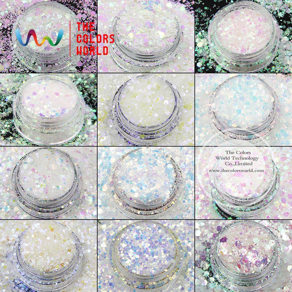 TCT-008 mélange irisé arc-en-ciel blanc avec plusieurs couleurs hexagone forme paillettes pour nail art maquillage bricolage et décorations de vacances