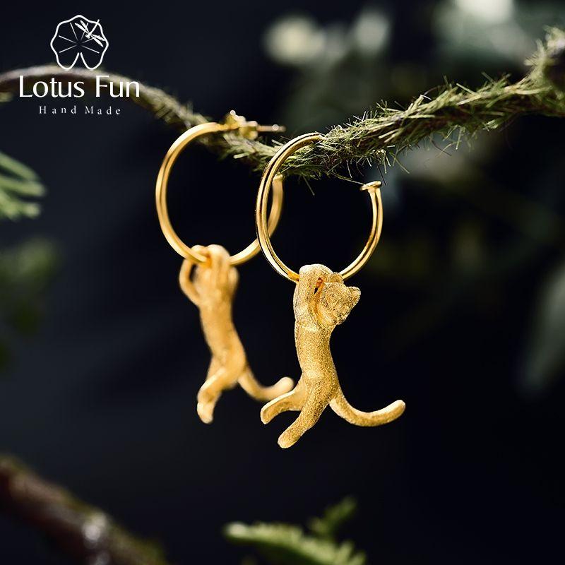 <font><b>Lotus</b></font> Fun Real 925 Sterling Silver Natural Creative Handmade Fine Jewelry Cute Kung Fu Cat Drop Earrings for Women Brincos