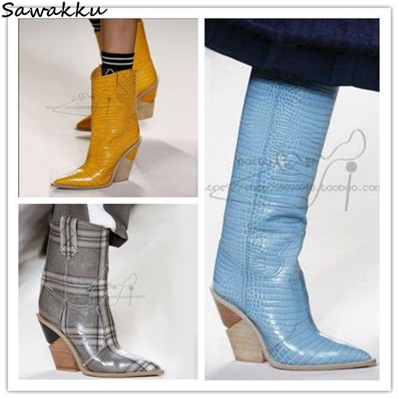 Blue Yellow Snakeskin Women Knee High Boots Leather Pointed Toe Western Cowboy Boots Chunky Wedges Kendall Runway Shoes Woman