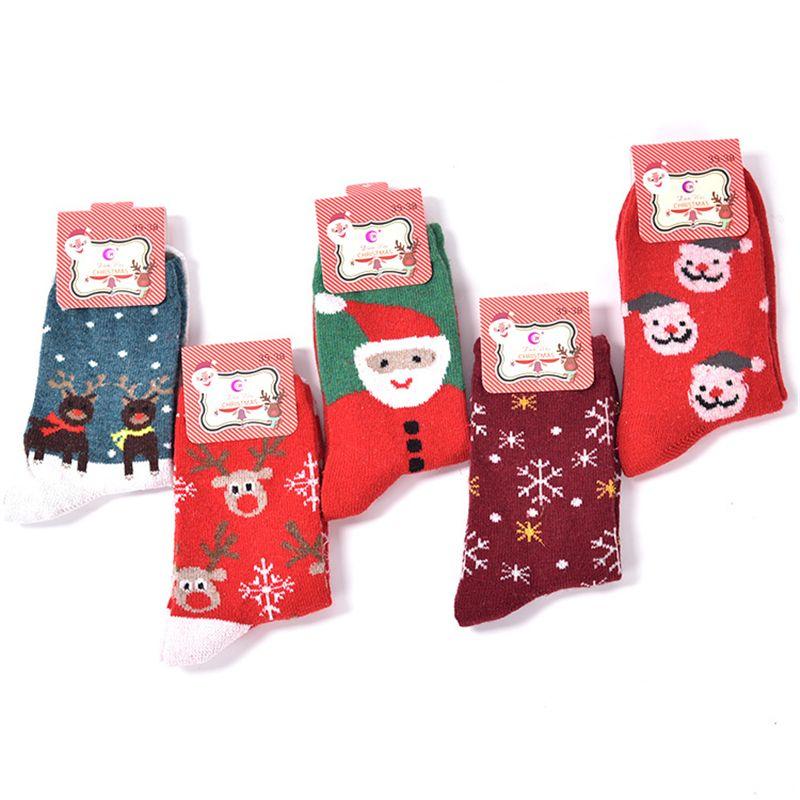 (5 пар/лот) Рождество подарок женские Модные носки с мультяшным рисунком теплая шерсть Носки для девочек Повседневное девушка бренд Рождест...