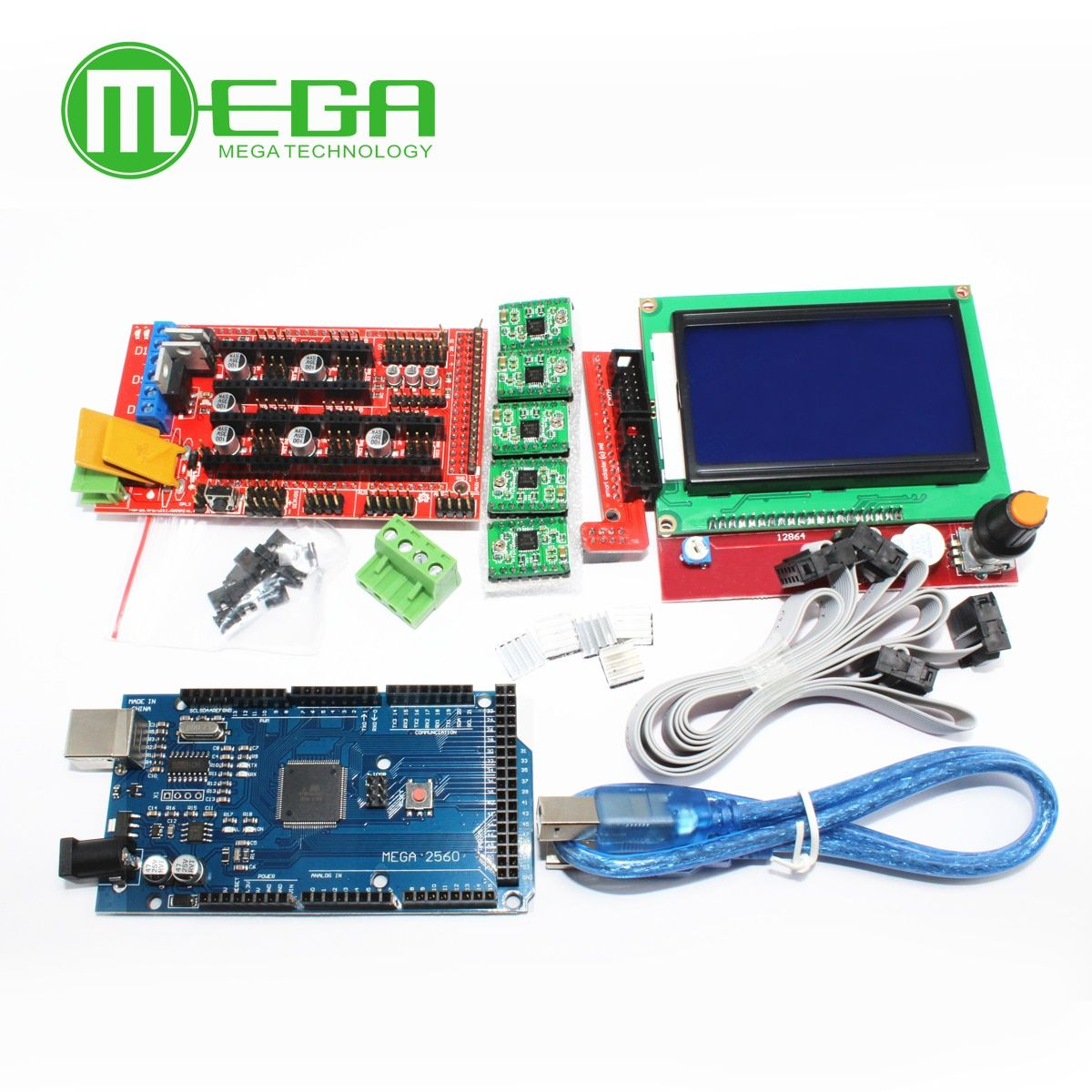 1pcs Mega 2560 R3 CH340 + 1pcs RAMPS 1.4 Controller + 5pcs A4988 Stepper Driver Module +1pcs 12864 controller for 3D Printer kit