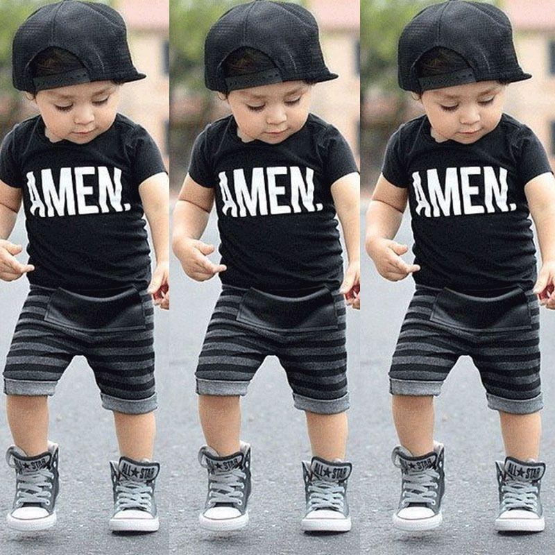 Enfant en bas âge bébé enfants garçons vêtements d'été hauts T-shirt pantalon tenues ensemble taille 2 T-6 T livraison gratuite