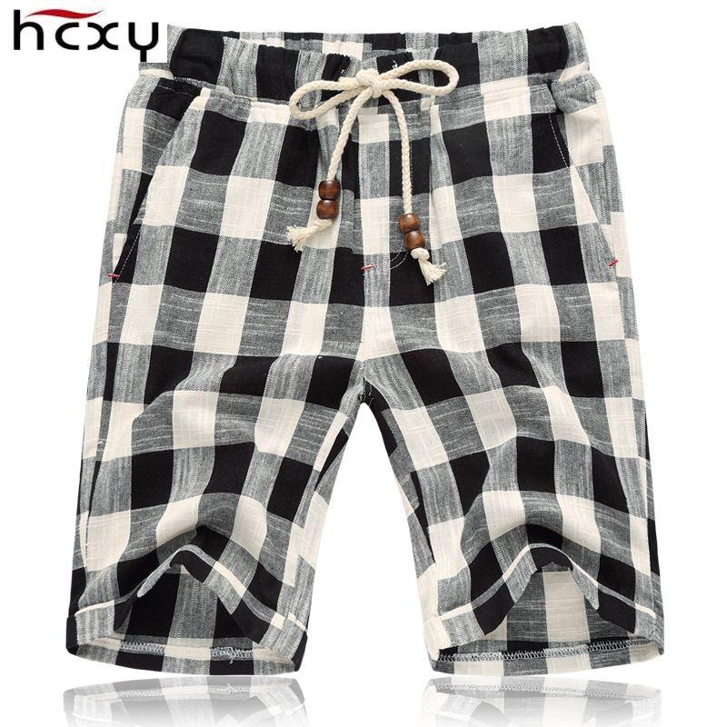 HCXY 2019 D'été Hommes de shorts Hommes Shorts Lin Coton Élastique taille Mens Shorts Occasionnels Mâle Rayé Plaid Genou longueur