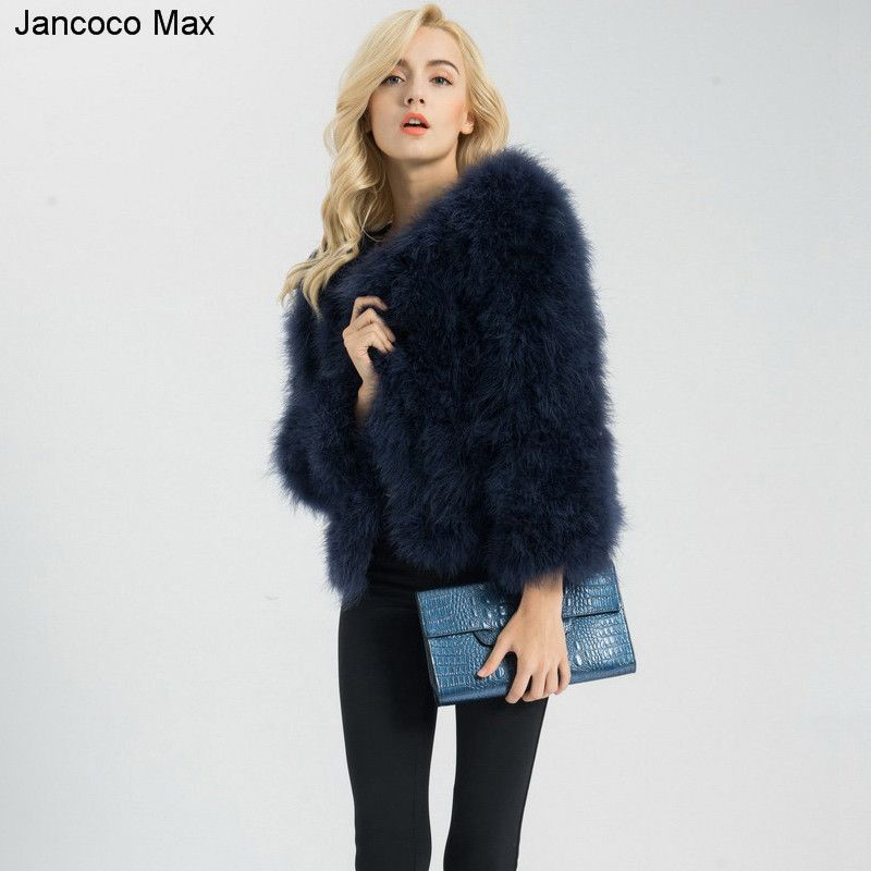 Jancoco Max S1002 Women 2018 Real Fur Coat Genuine Ostrich Feather Fur Winter Jacket Retail / Wholesale Top <font><b>Quality</b></font>