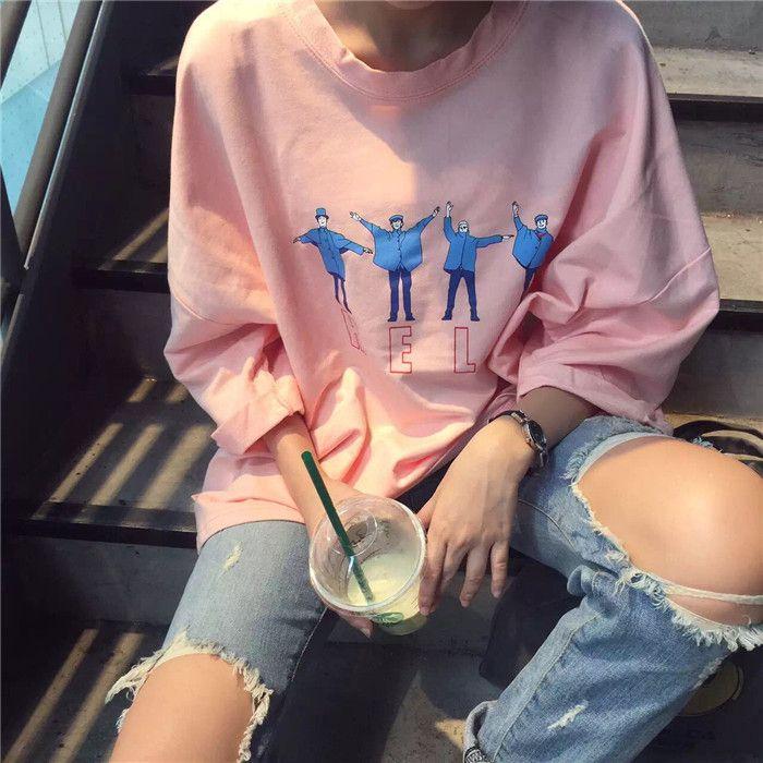 2016 Coréenne Style Halajuku Lettre Imprimé Occasionnel Lâche Femelle Tee