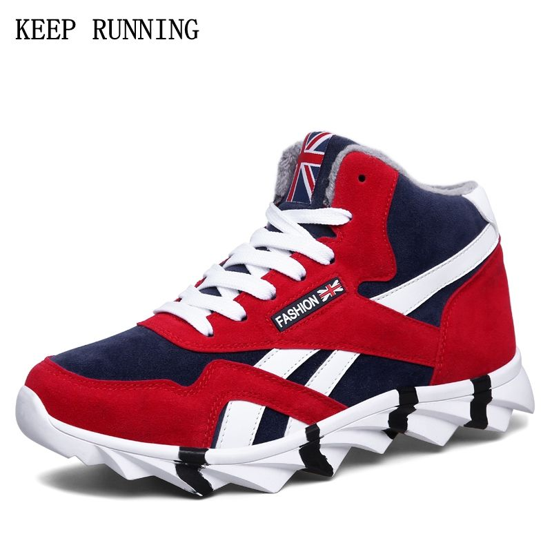 Hot sale 2017 Winter sneakers for men Outdoor Non-slip plush warm running shoes Cushion cushion sports men shoes