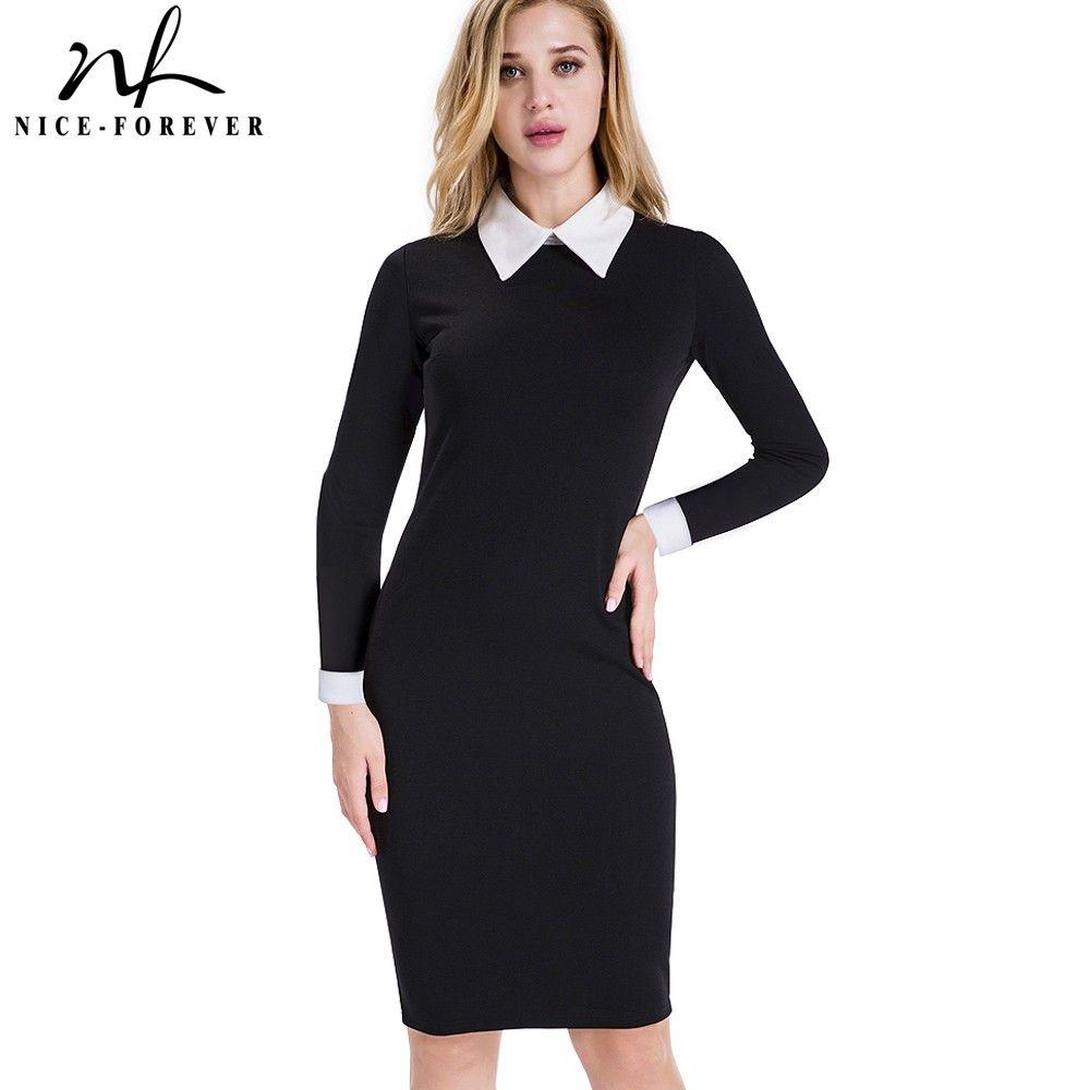 Nice-forever Career Women Autumn Turn-down Collar Fit Work Dress Vintage Elegant Business <font><b>office</b></font> Pencil bodycon Midi Dress 751