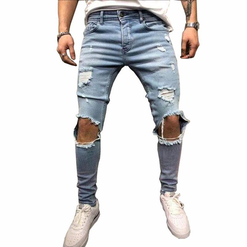 Mode Streetwear hommes Jeans Vintage bleu gris couleur Skinny détruit déchiré Jeans cassé Punk pantalon Homme Hip Hop Jeans hommes