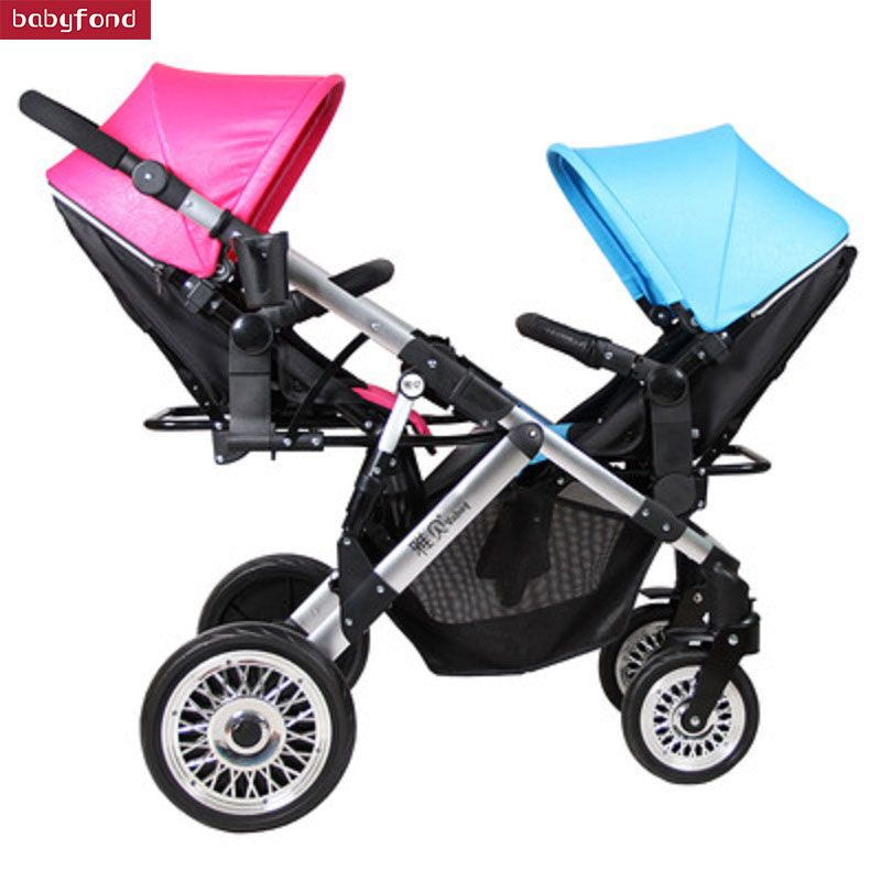 Boy and girl Twin Stroller Two Way Baby Stroller Light And Foldable Baby Umbrella carts Can Sit and lie trolley brand baby pram